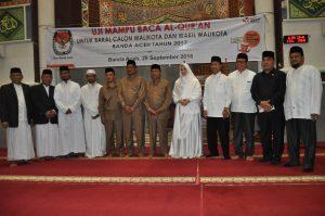 Para Bakal Pasangan Calon Walikota dan Wakil Walikota Banda Aceh 2017  yang mengikuti Uji Mampu Baca Al-Qur'an di Mesjid Al-Makmur Lampriet - Kota Banda Aceh (29.09/2016)