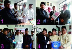 Ketua Komisi Independen Pemilihan (KIP) Kota Banda Aceh, Munawar Syah menerima berkas Pendaftaran Walikota dan Wakil Walikota Banda Aceh Tahun 2017 yaitu Pasangan illiza Sa'aduddin Djamal-Farid Nyak Umar mendaftar 22/09/2016 (Foto1), Marniati-Amiruddin Usman Daroy mendaftar 22/09/2016 (Foto 2), Adnan Beuransyah-Umar Rafsanjani mendaftar 23/09/2016 (Foto 3) dan Aminullah Usman-Zainal Arifin mendaftar 23/09/2016 (Foto 4) di Kantor KIP Kota Banda Aceh (22 s/d 23 – 09 – 2016)